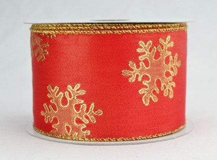 Wired Gold Snowflake Ribbon - Picture 1
