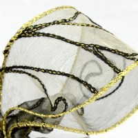 Wired Sheer Embroidered Ribbon with Gold Trim